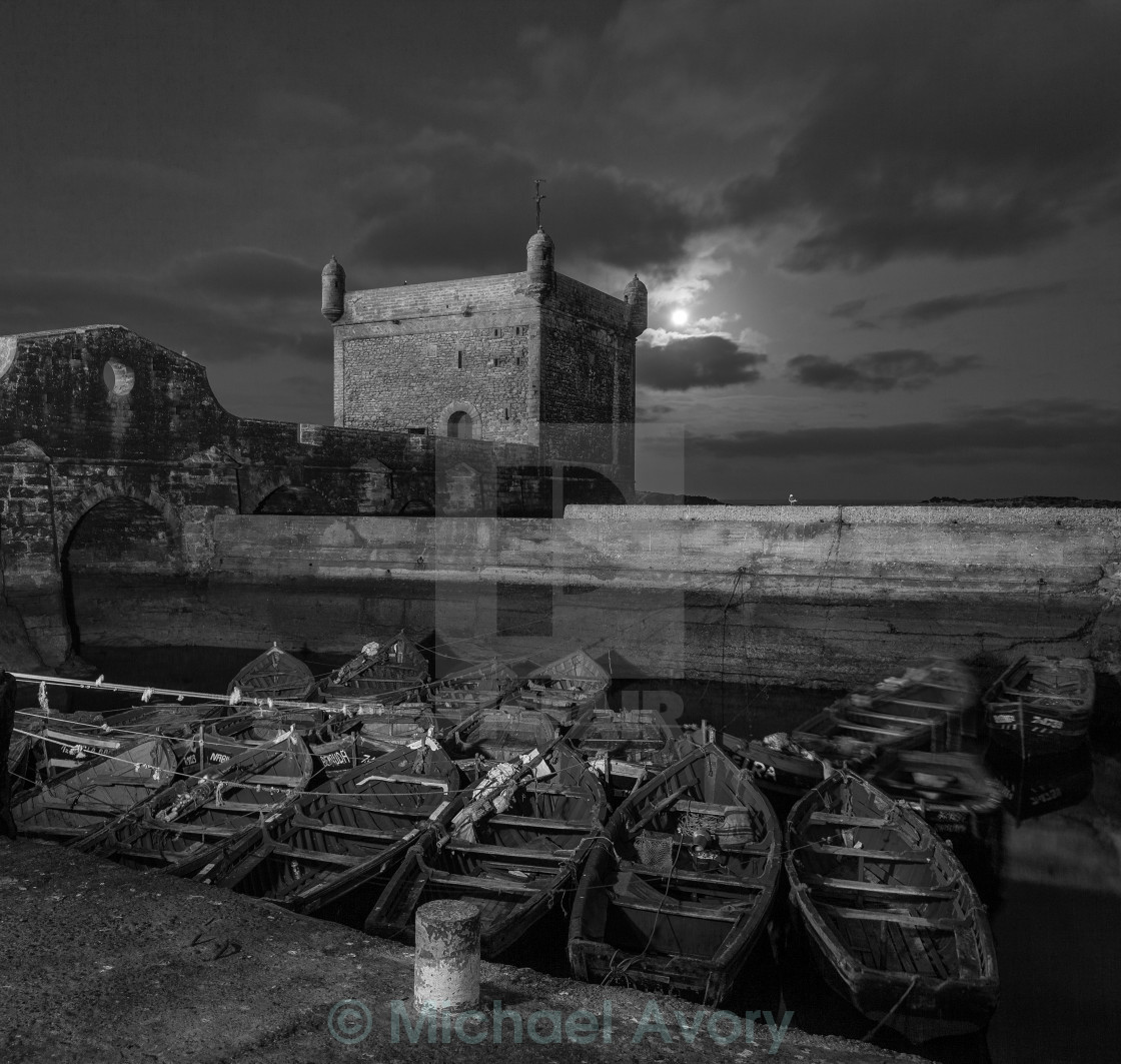 """Dawn moon over the harbour"" stock image"
