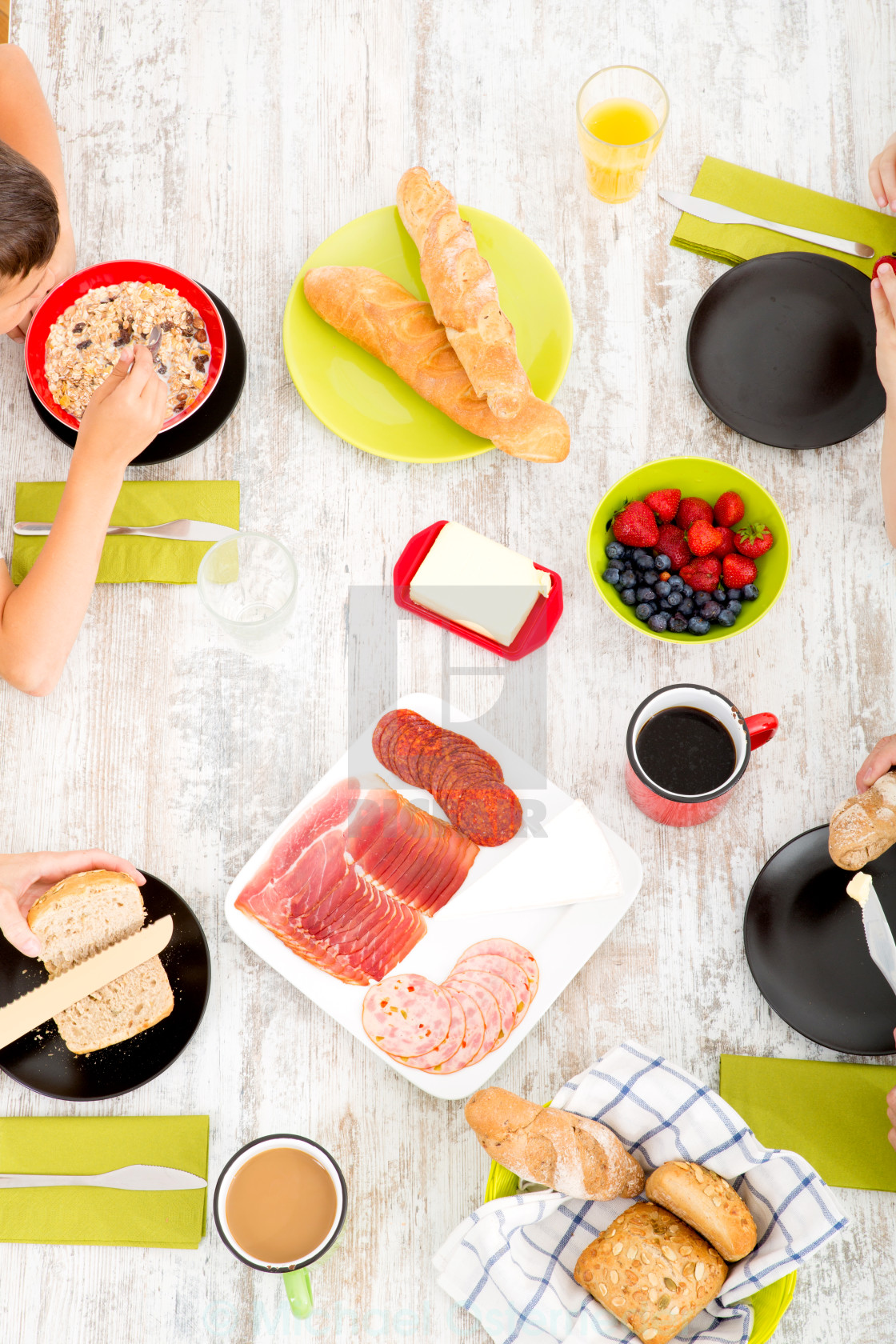 """Family having breakfast"" stock image"