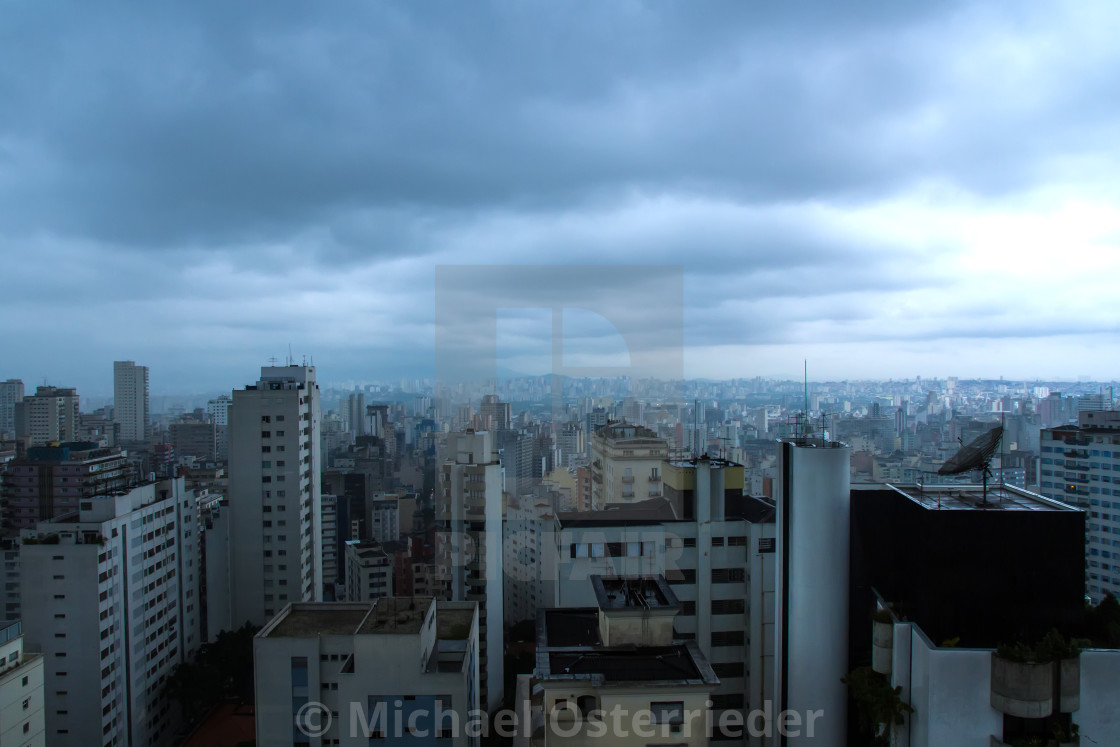 """Pollution over the skyline of Sao Paulo"" stock image"