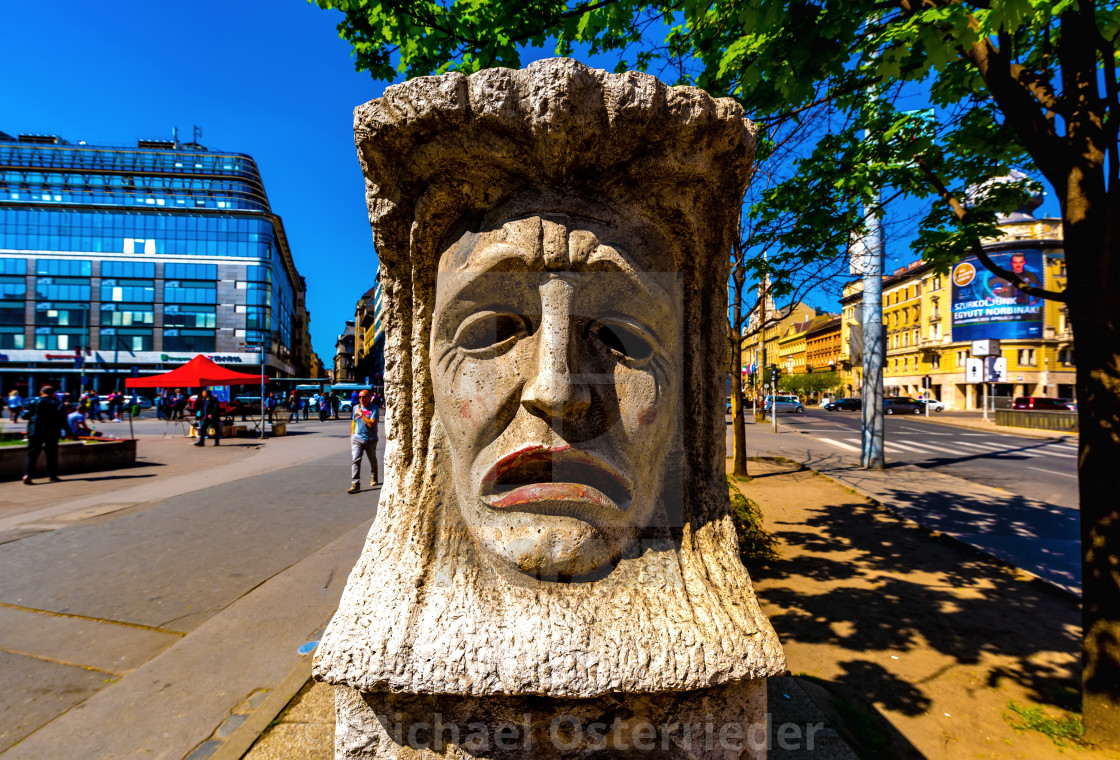 """""""Satue on the Blaha Lujza Square in Budapest"""" stock image"""