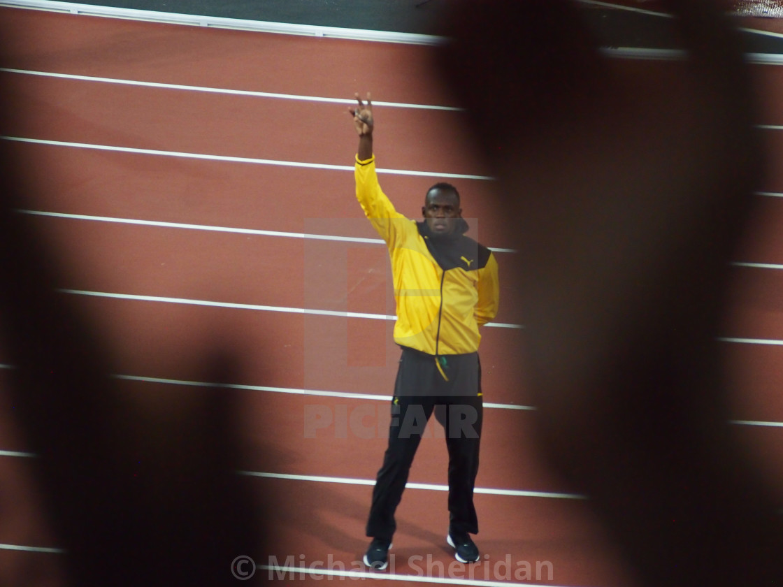 """Usain Bolt Says Goodbye"" stock image"