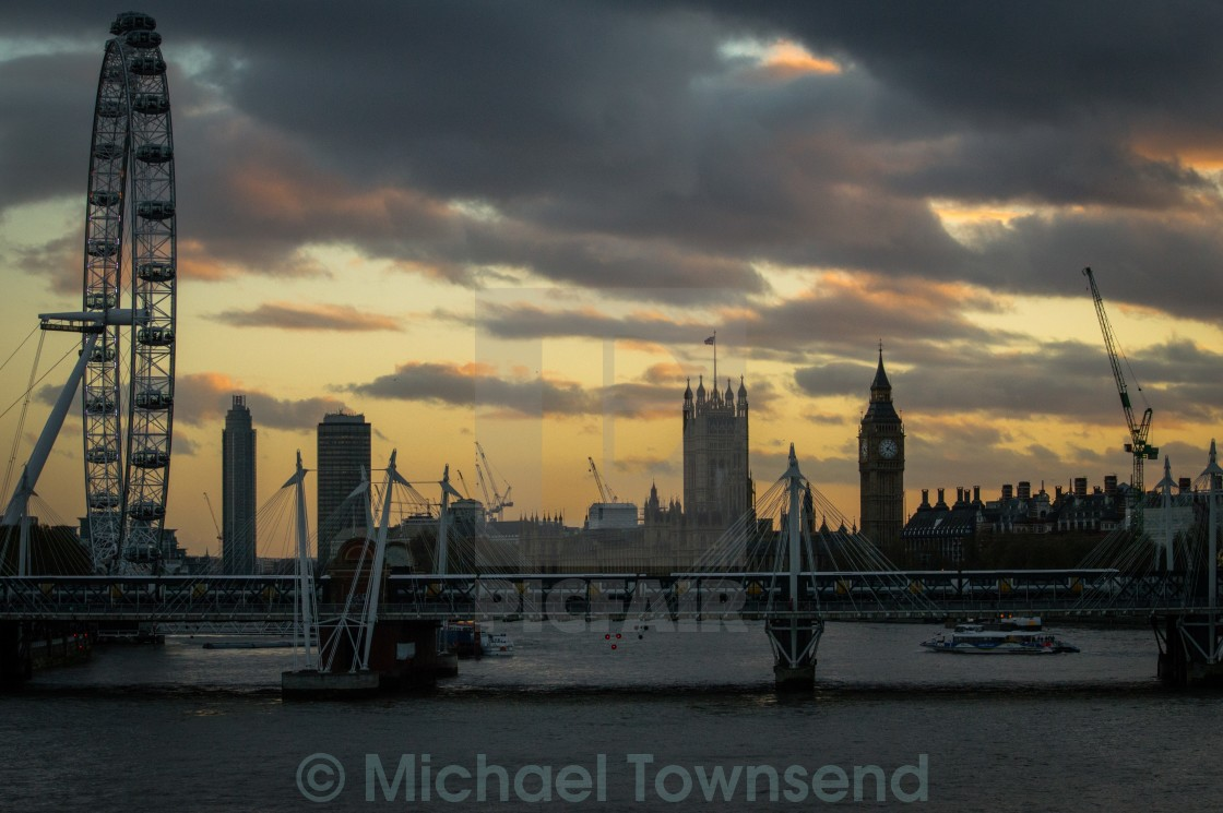 """Westminster Sunset"" stock image"
