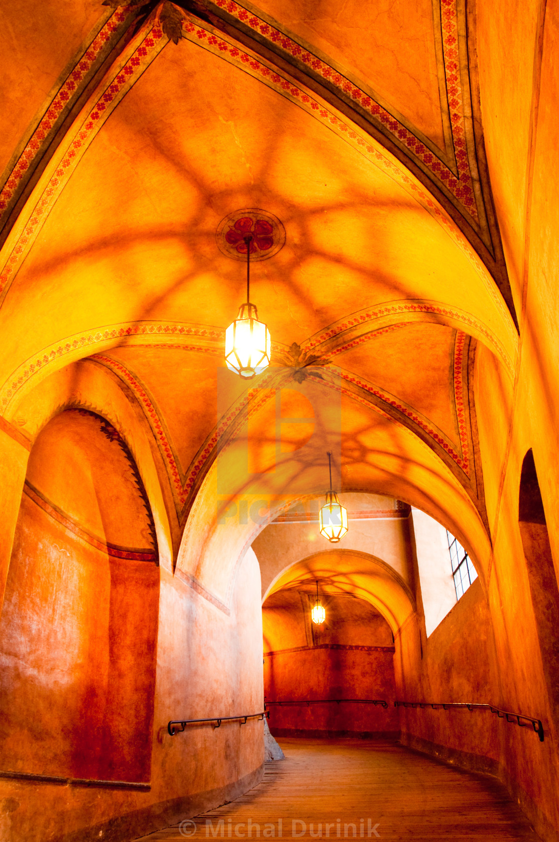 """historical hallway in old castne, beautiful light"" stock image"