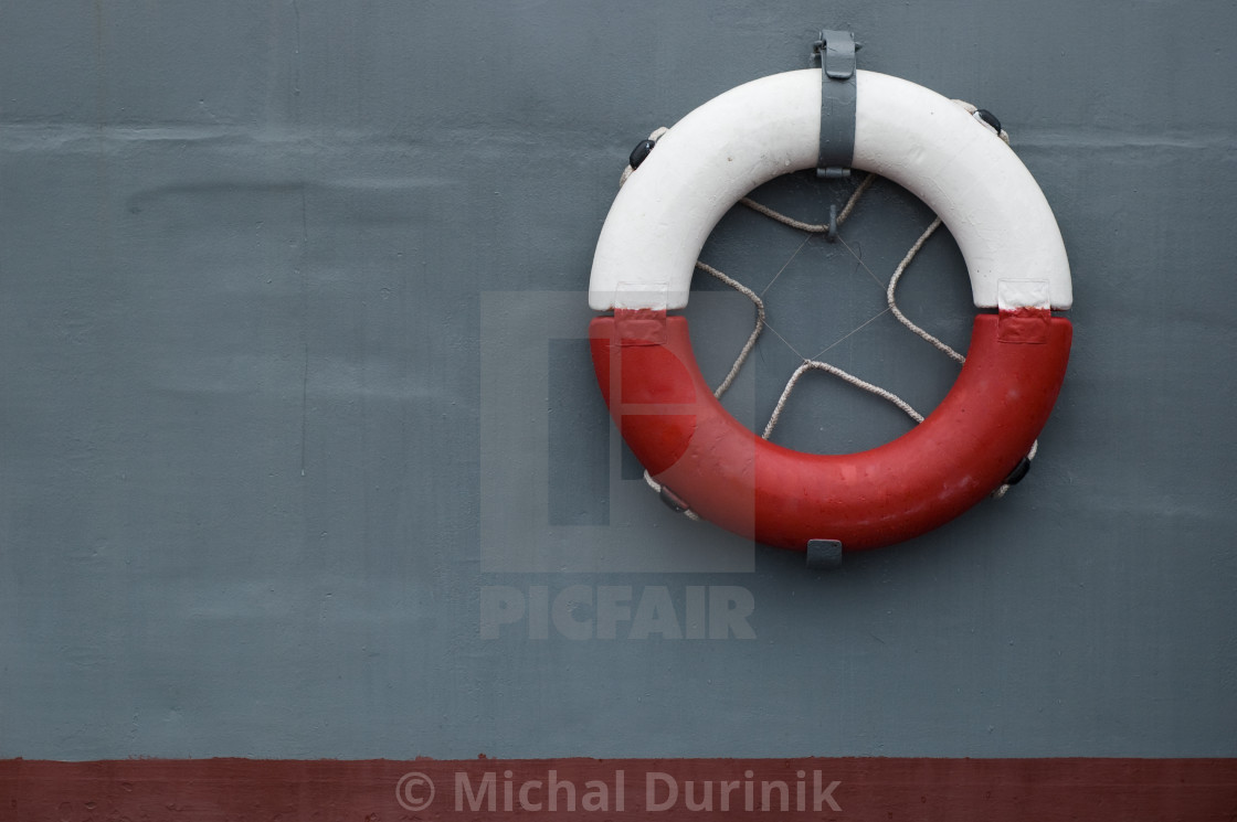"""life ring on battleship"" stock image"