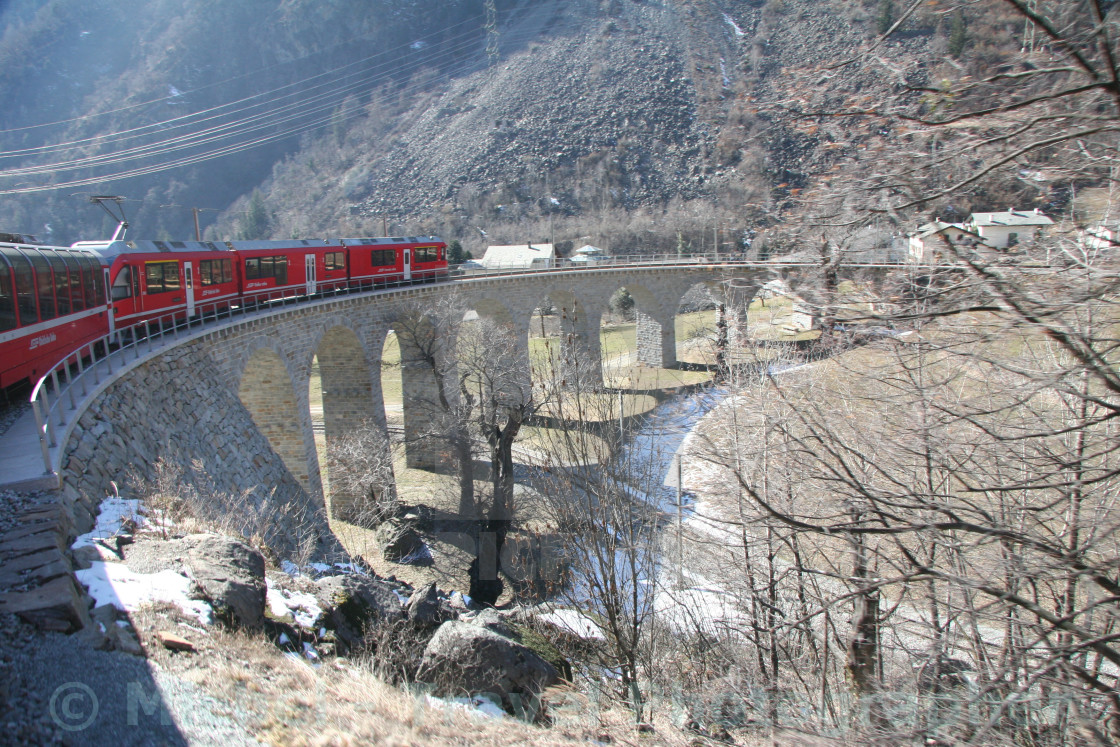 """Bernina Express In Winter"" stock image"