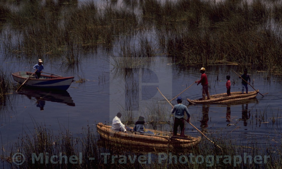 """Lake Titicaca Reed Boats"" stock image"