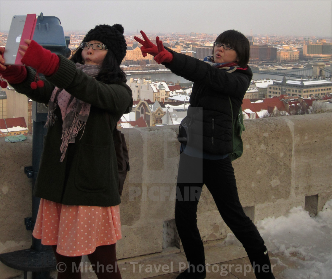 """Tourists in Budapest"" stock image"