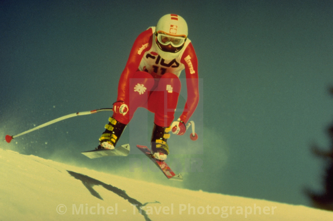 """Skiing in Crans Montana, Switzerland"" stock image"