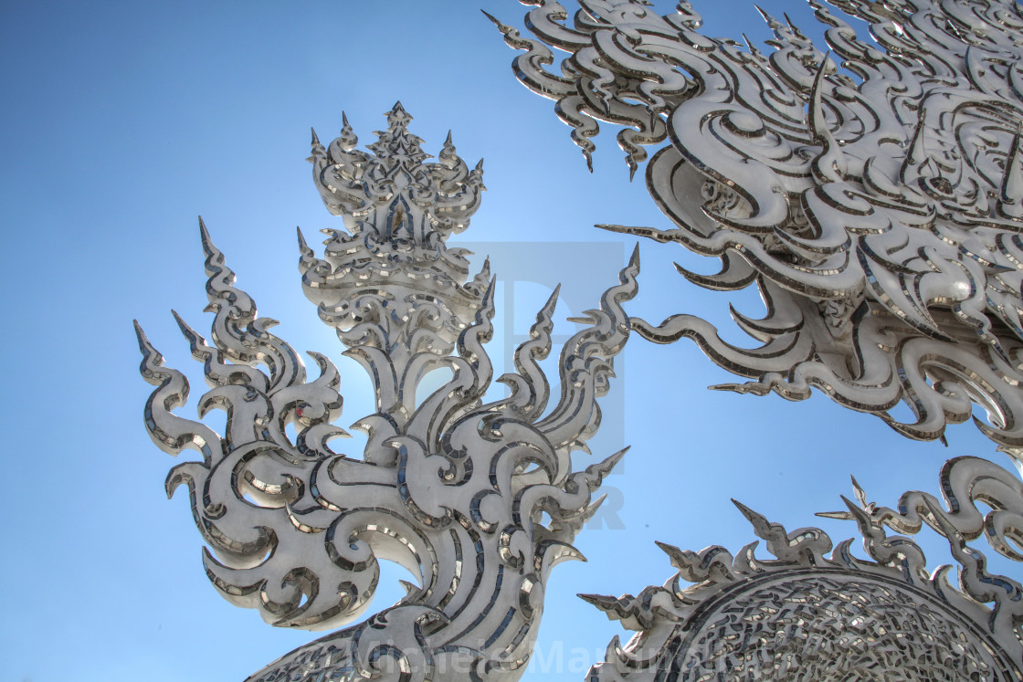 """Close up detail, White Temple, Chiang Rai, Thailand"" stock image"