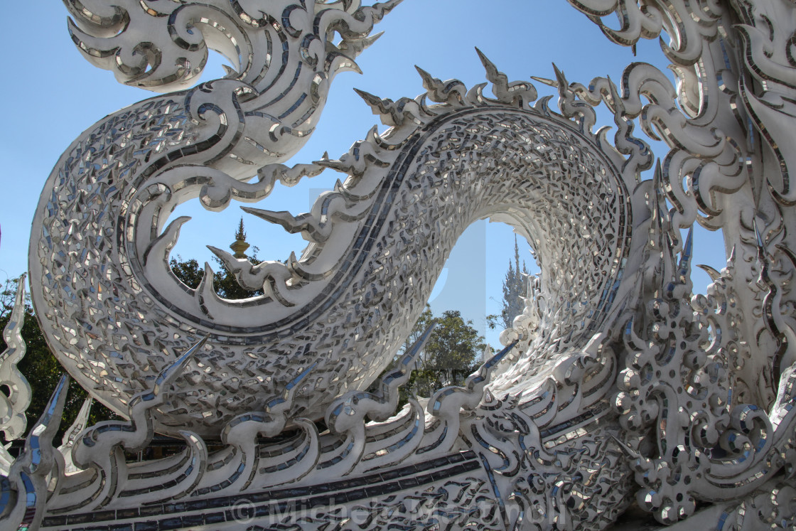 """Naga detail at the White Temple, Chiang Rai, Thailand."" stock image"