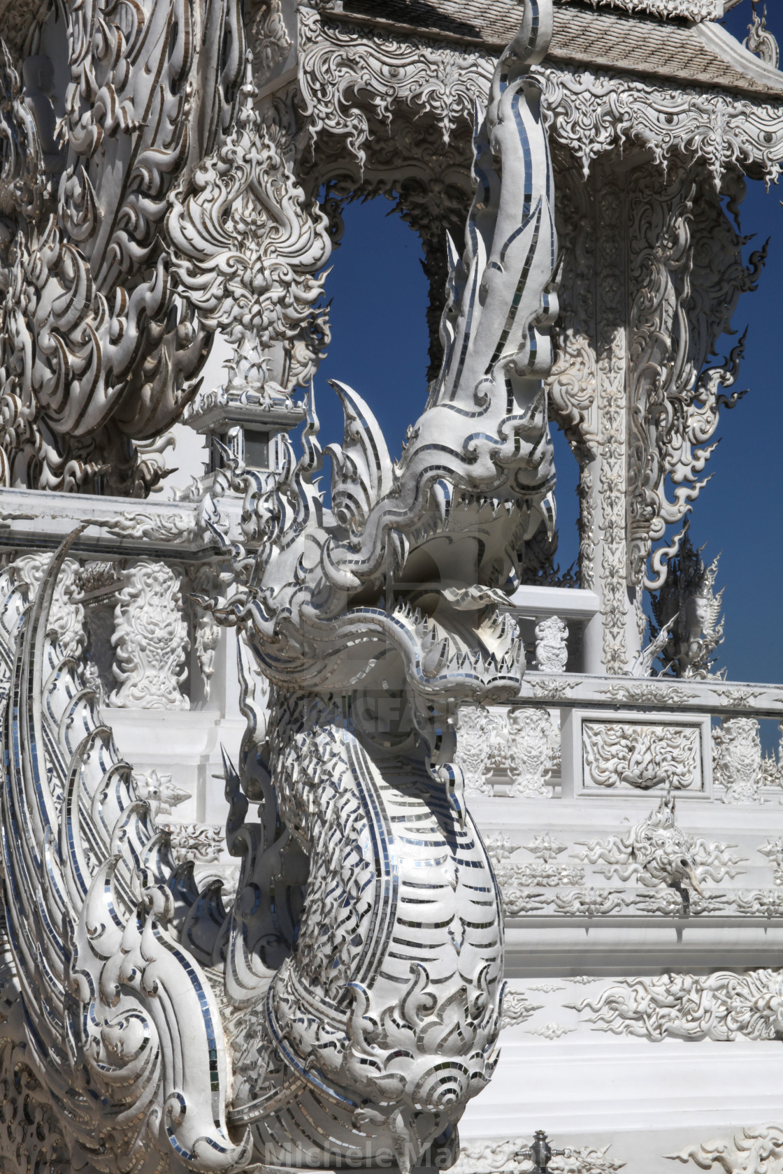 """Mythological flying dragon, White Temple, Chiang Rai"" stock image"