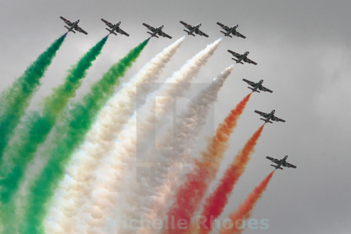 """Frecce Tricolori with smoke"" stock image"