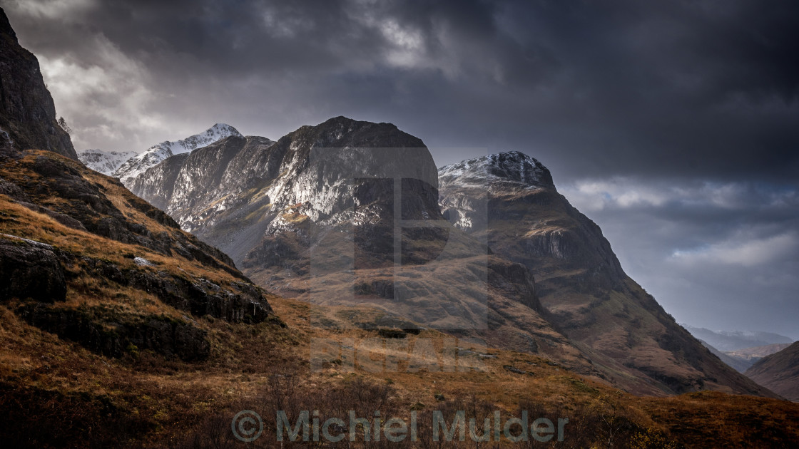 """The Three Sisters of Glen Coe"" stock image"