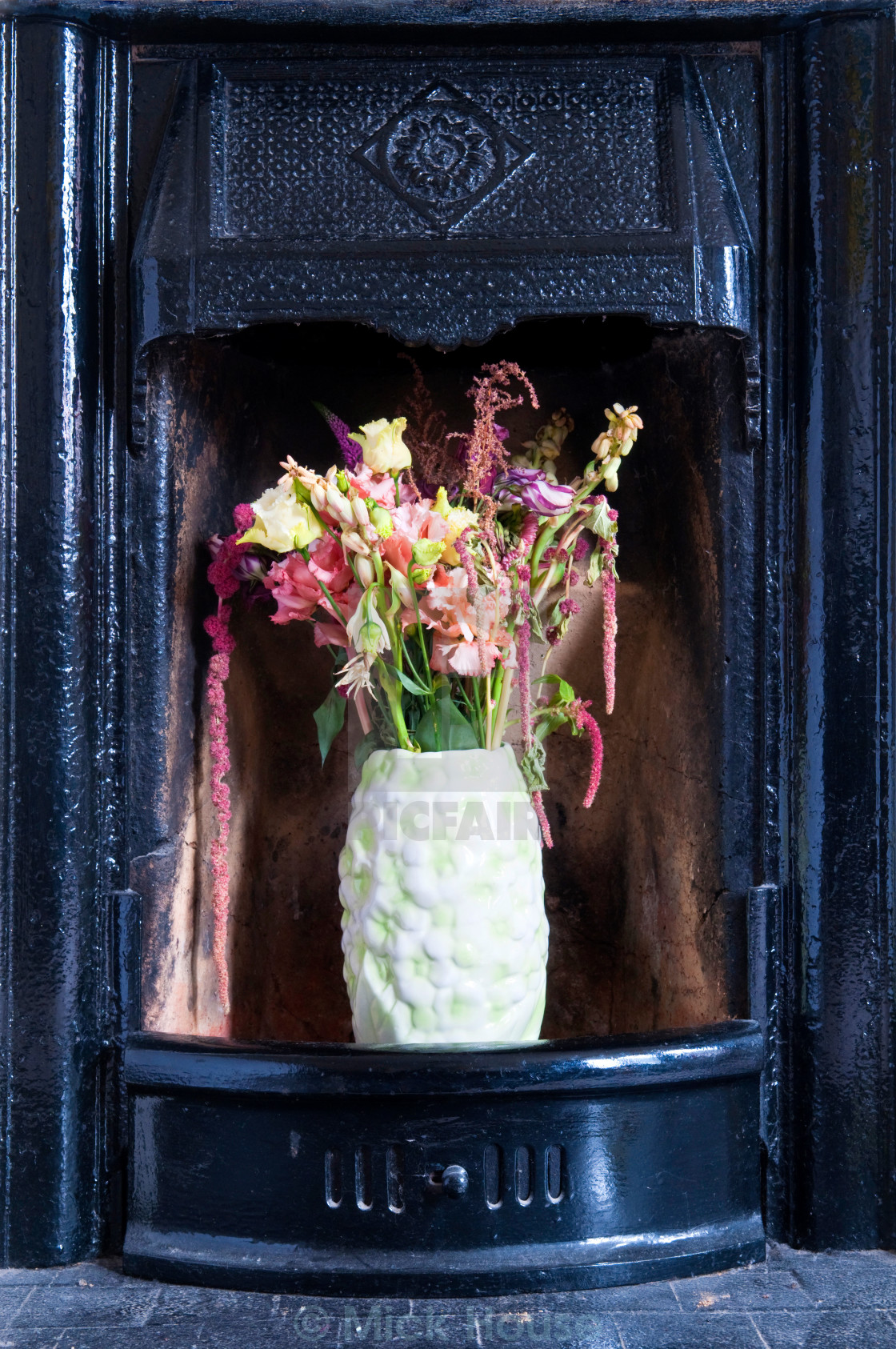 """Flowers in a Fireplace"" stock image"