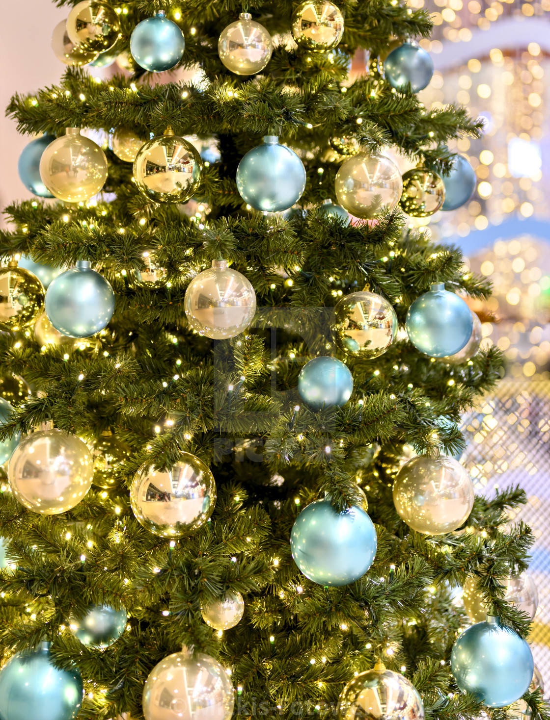 Christmas Tree With Golden And Turquoise Balls License Download Or Print For 31 00 Photos Picfair