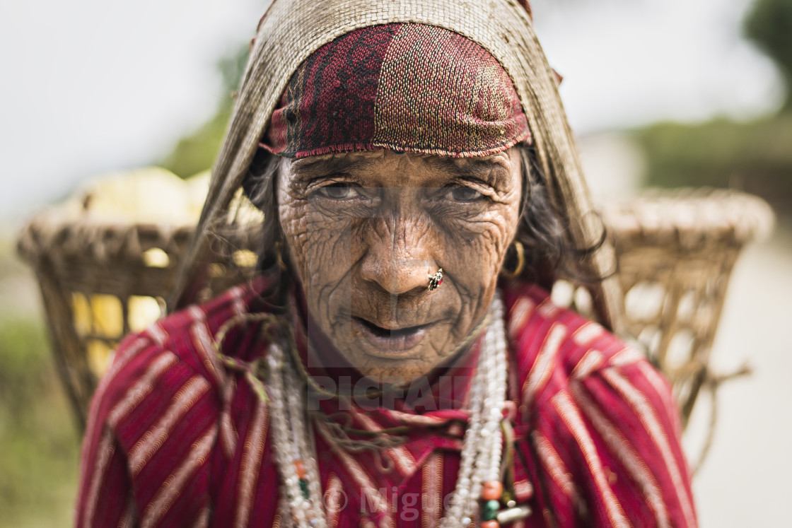 """Gurung woman in Pothana"" stock image"
