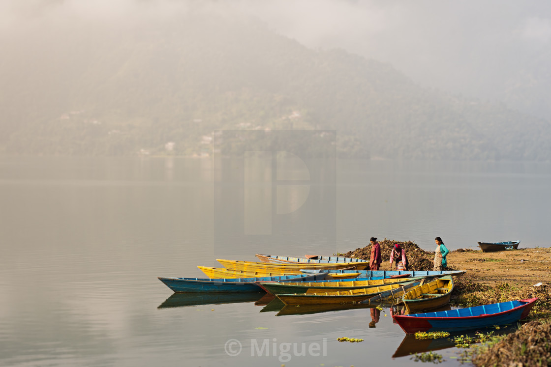 """Women in Phewa lake"" stock image"