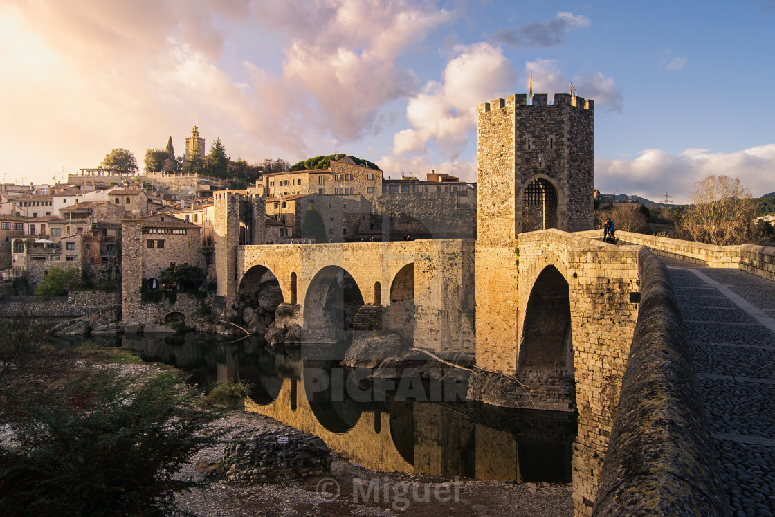 """Besalú at sunset"" stock image"