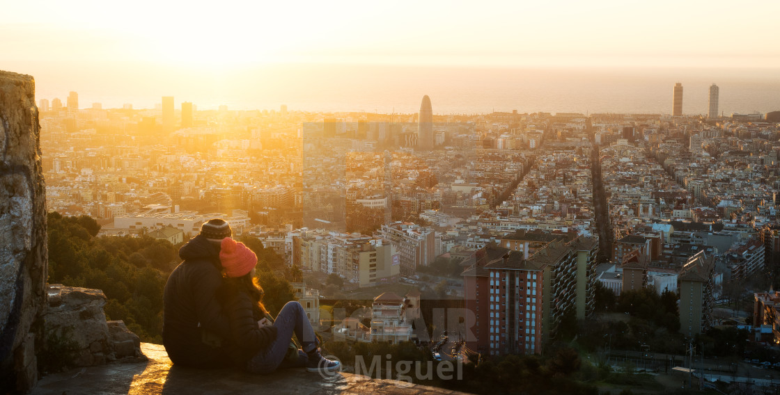 """Sunrise in Barcelona"" stock image"