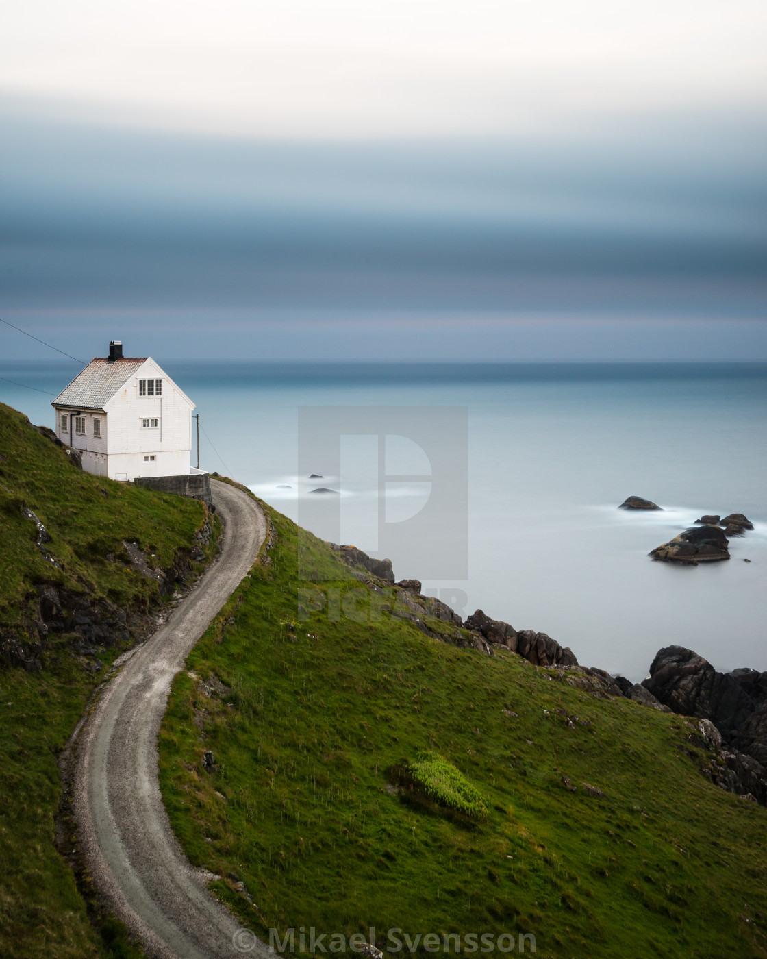 """Lane leading to a white country house on the coast"" stock image"