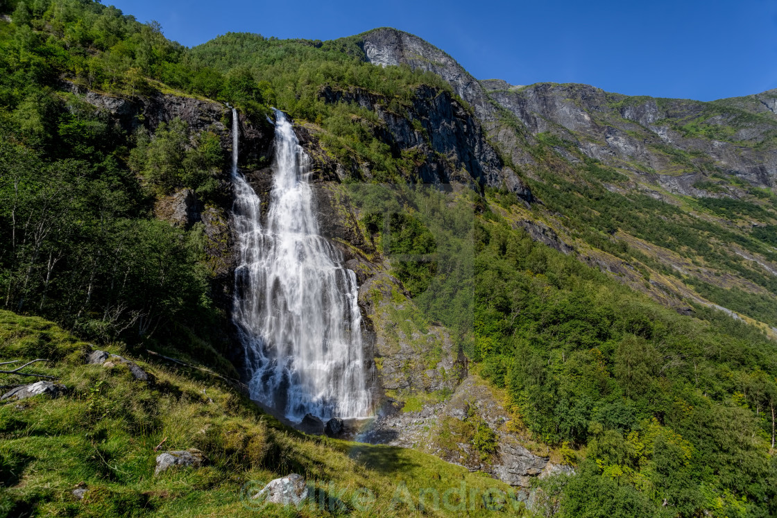 """Waterfall Flaam Norway"" stock image"