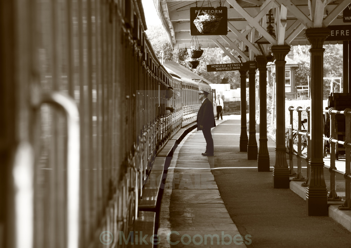 """Stationmaster at Sheffield Park Station"" stock image"
