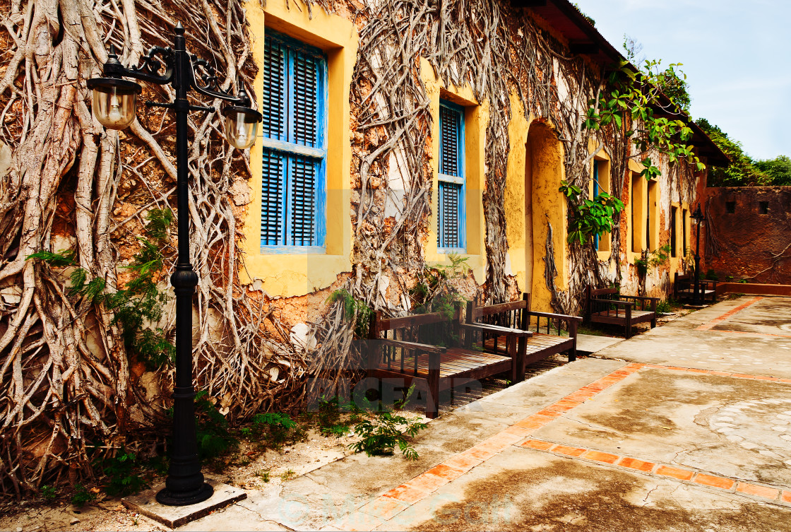 """Prison Island Courtyard"" stock image"
