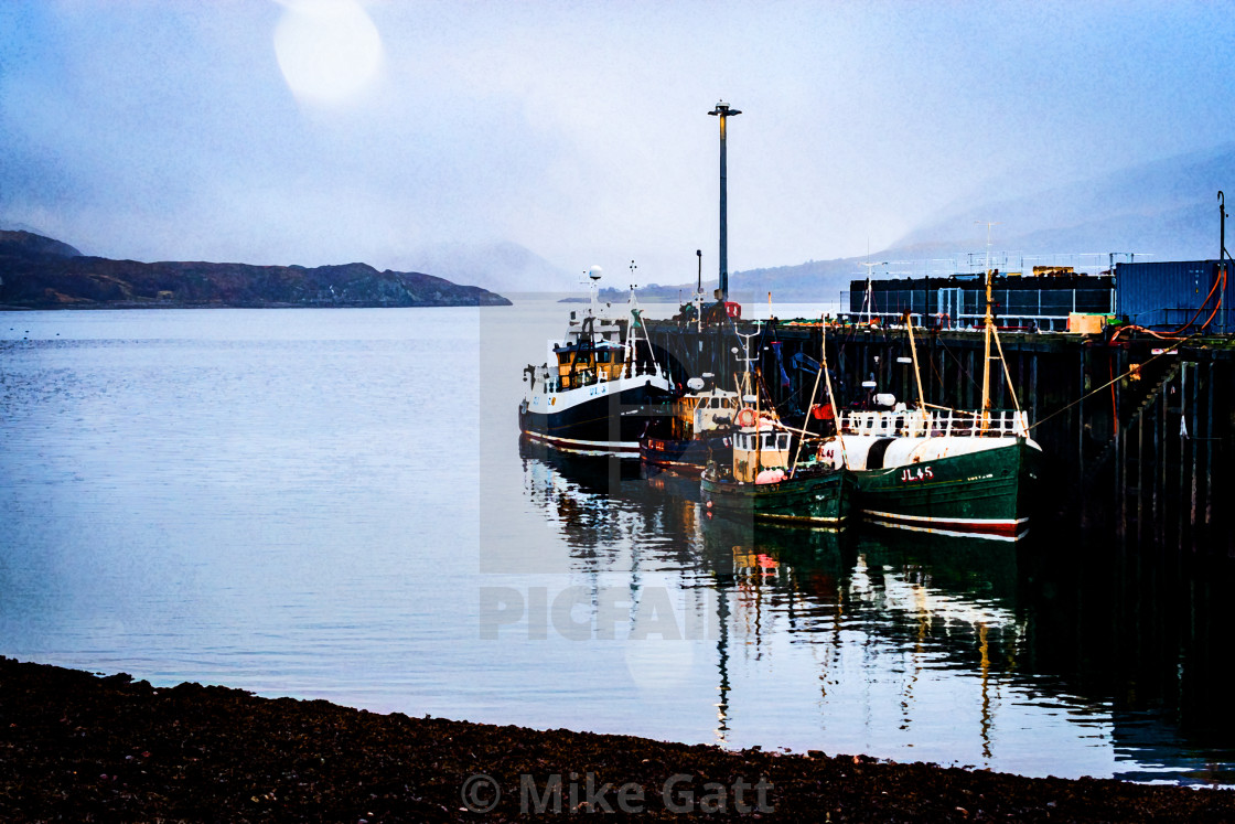"""""""Ullapool Harbour at low tide - graphic effect"""" stock image"""