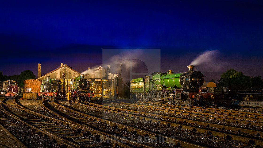 """Night in the Engine Shed"" stock image"