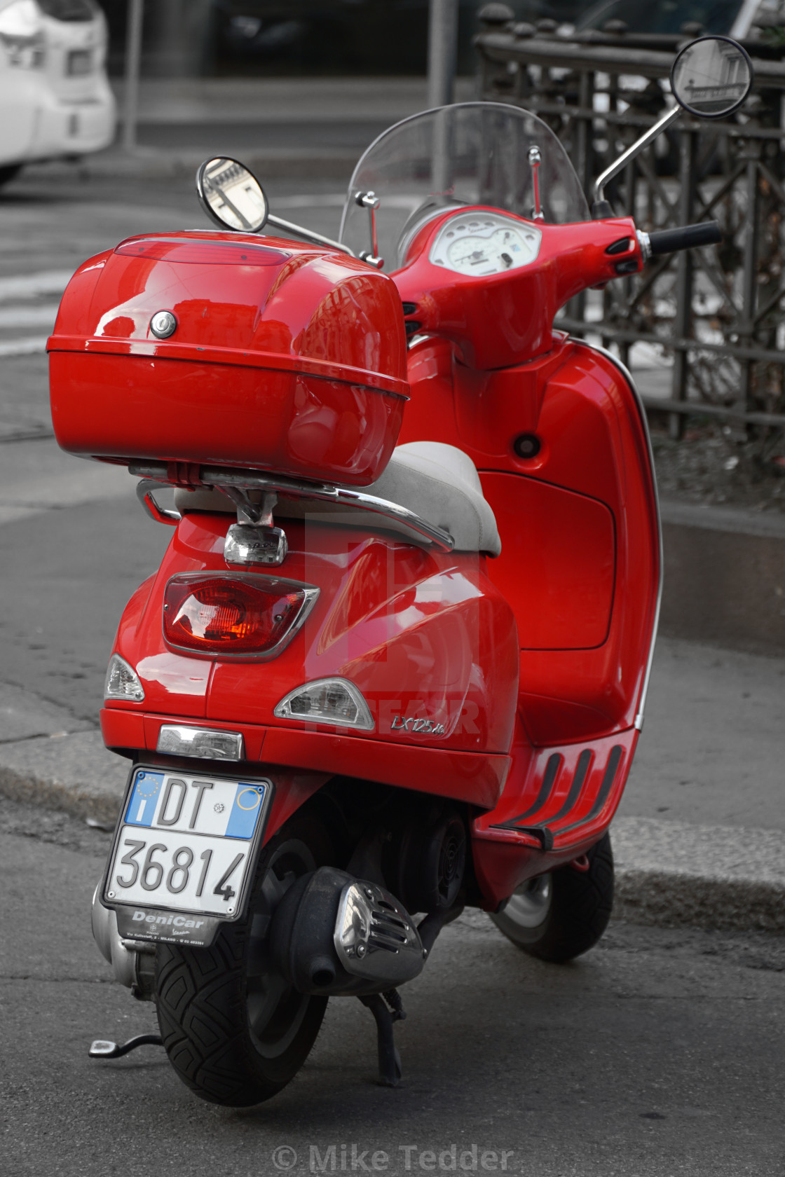 """""""Red scooter, Milan"""" stock image"""