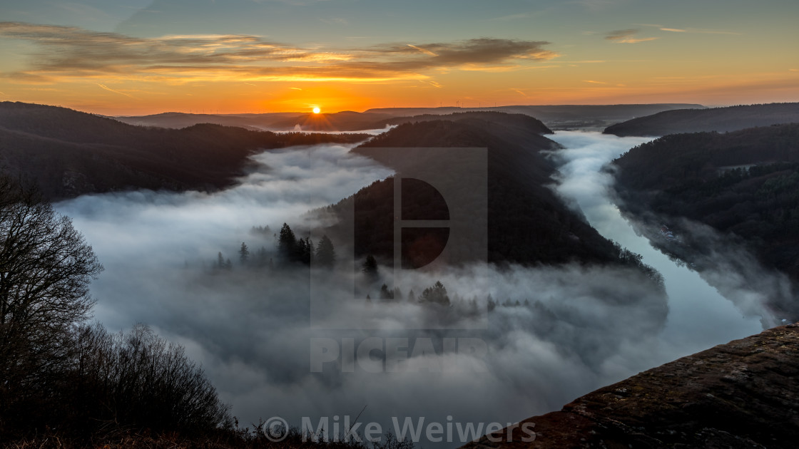 """Saarschleife at Sunrise"" stock image"