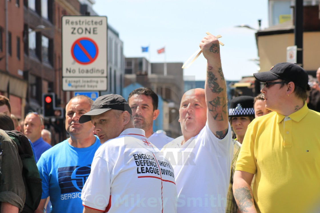 """Angry EDL members"" stock image"