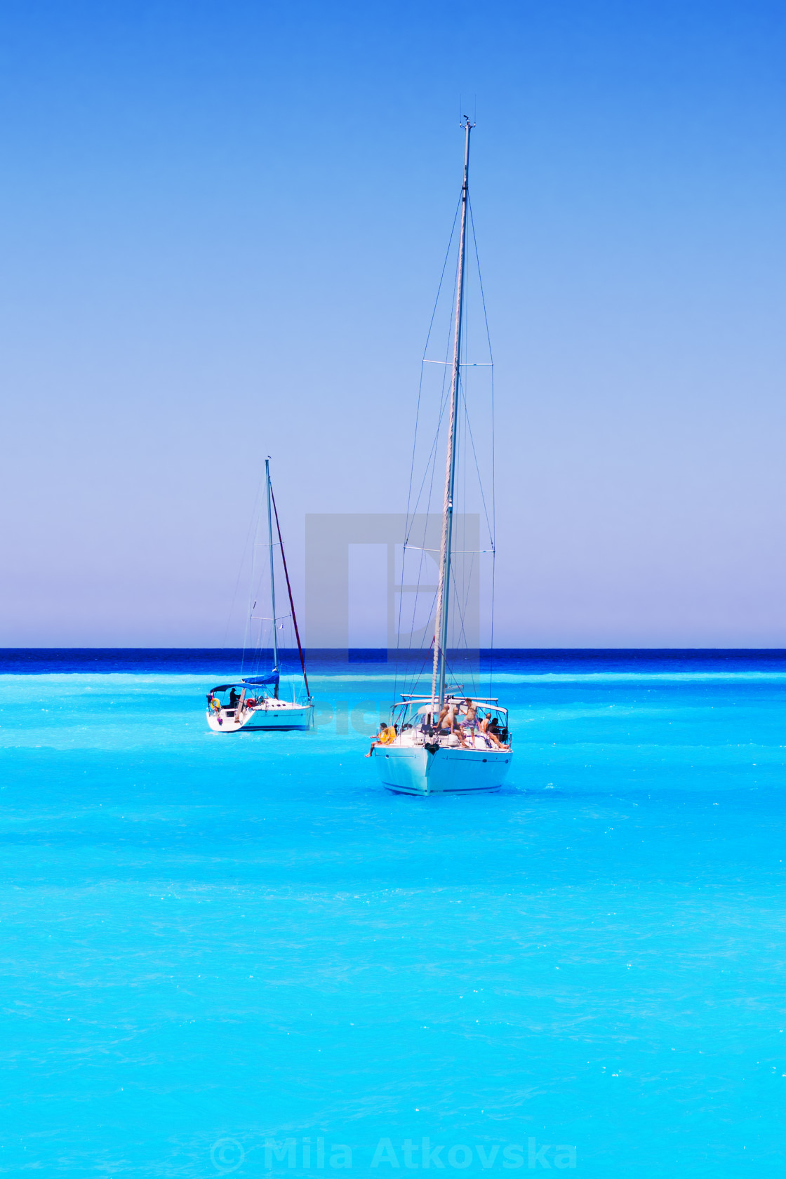 """Sailboats full of tourists anchored at Navagio beach, Zakynthos island,..."" stock image"