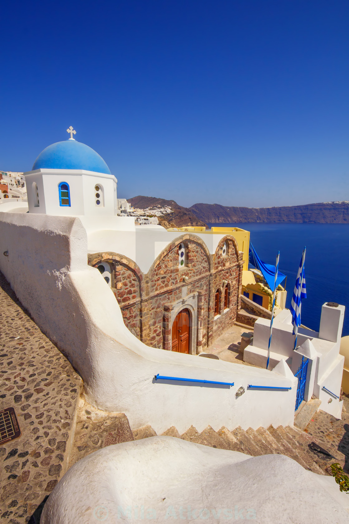 """Orthodox christian church in Oia village, Santorini"" stock image"