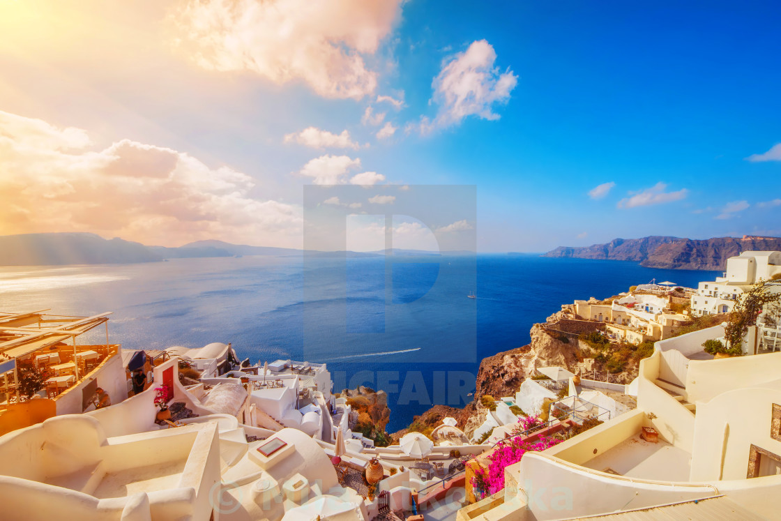 """Oia village in the morning light, Santorini, Greece"" stock image"