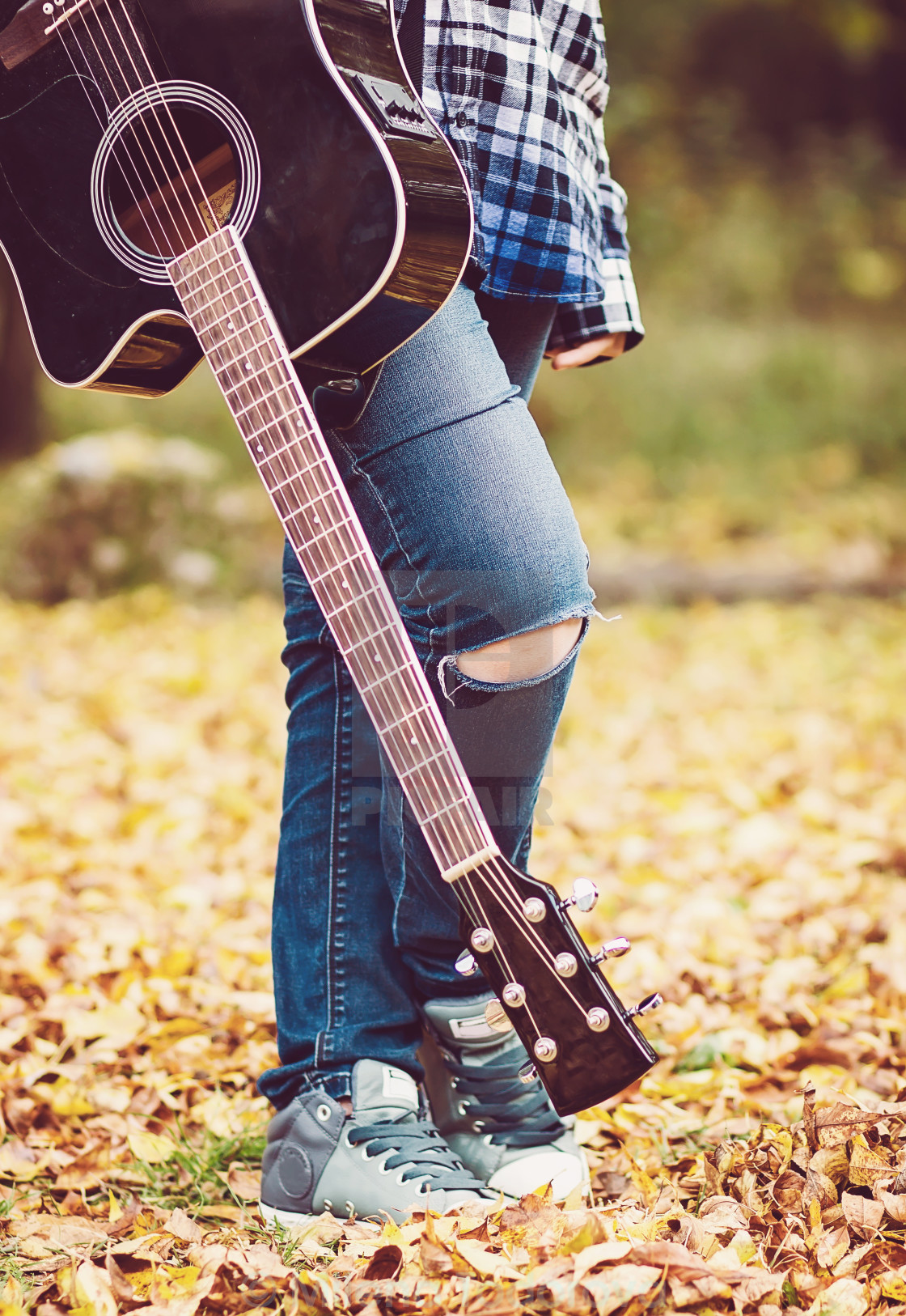 """Young girl with guitar"" stock image"