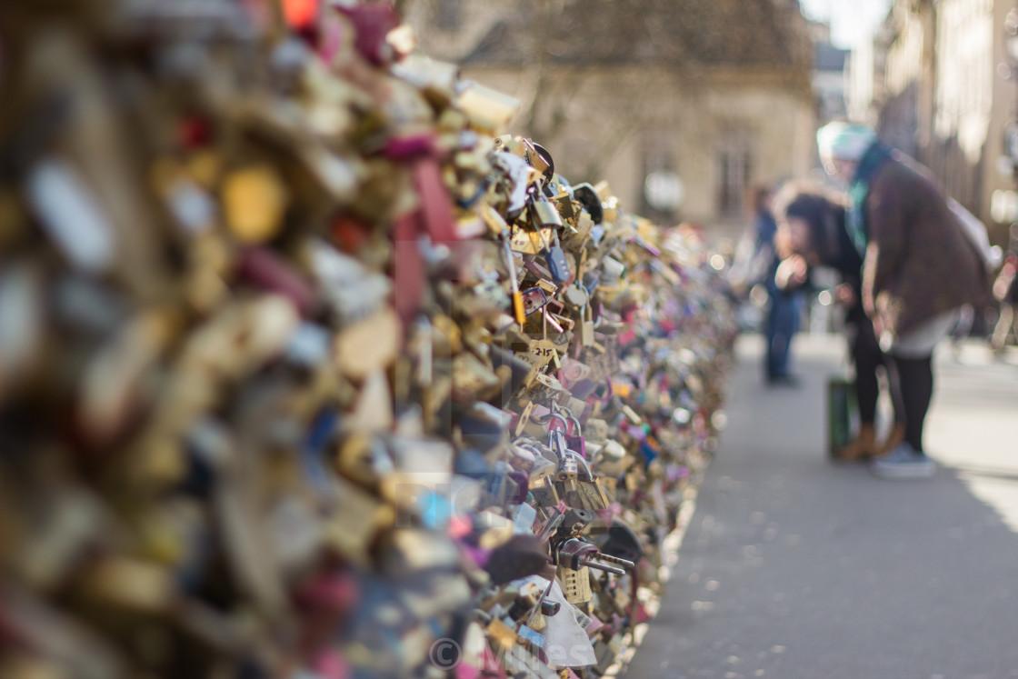"""""""Love Lock Bridge, Paris"""" stock image"""