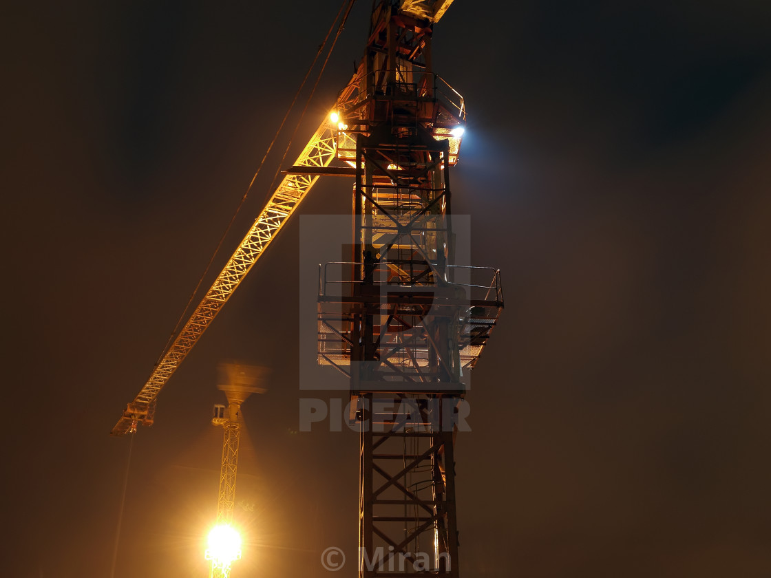 """Cranes in the night"" stock image"