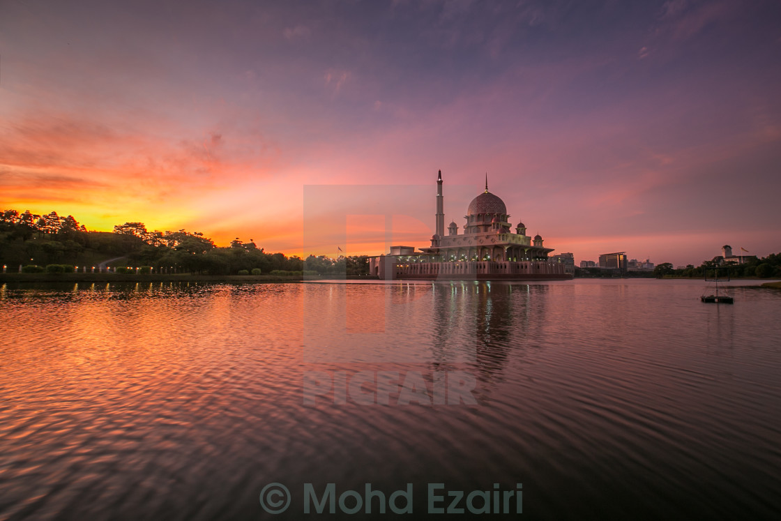 """beautiful sunrise at Putra Mosque"" stock image"