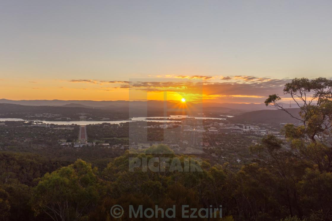 """Sunset Over Canberra City, Australia"" stock image"