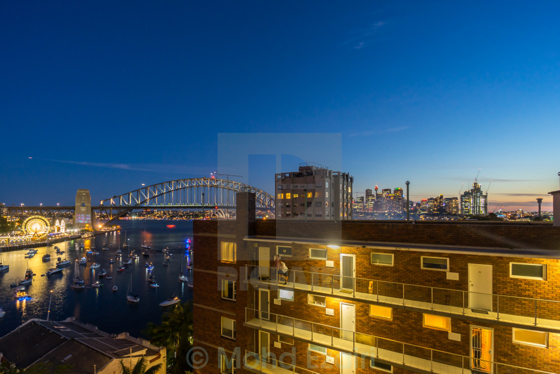 """Sunset at Sydney Harbor Bridge"" stock image"