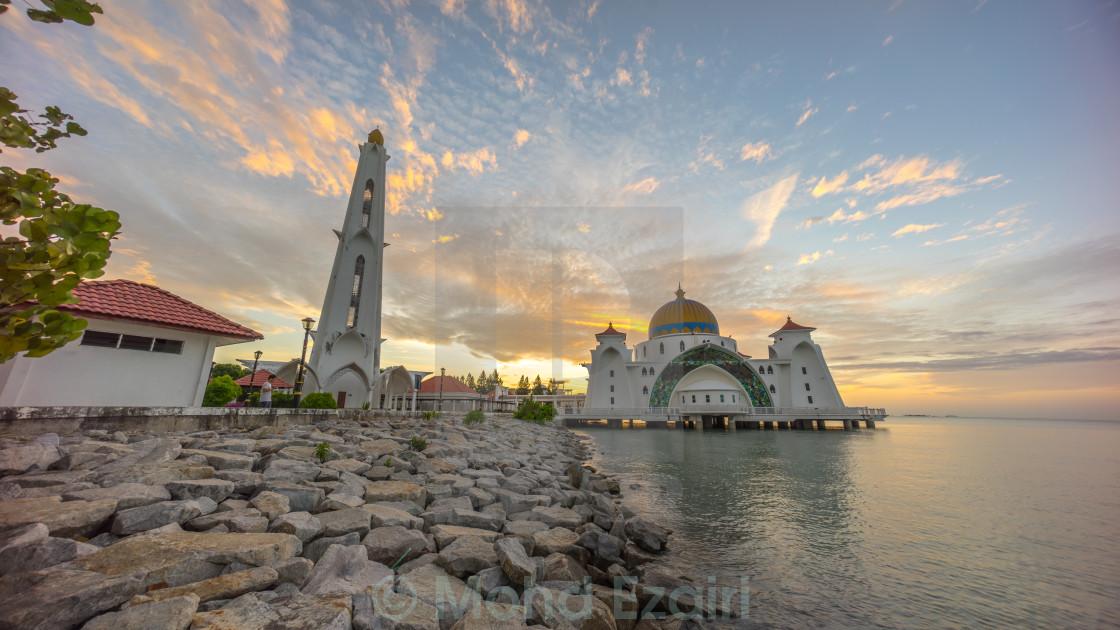 """Malacca Straits Mosque during sunrise."" stock image"