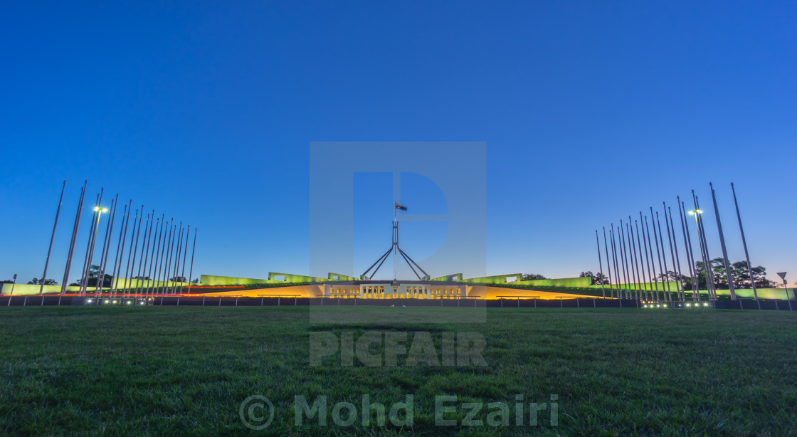 """Beautiful scene of sunset at Parliament House Canberra, Australi"" stock image"
