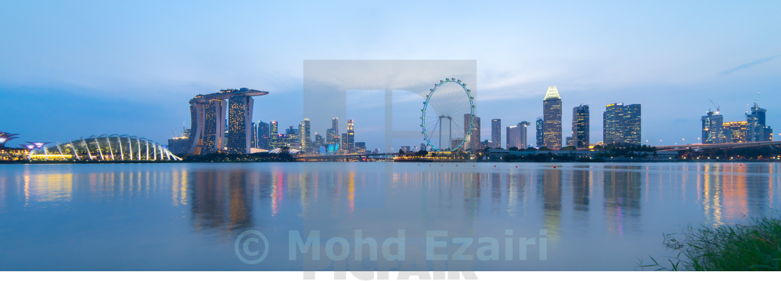 """Panorama Singapore city skyline"" stock image"