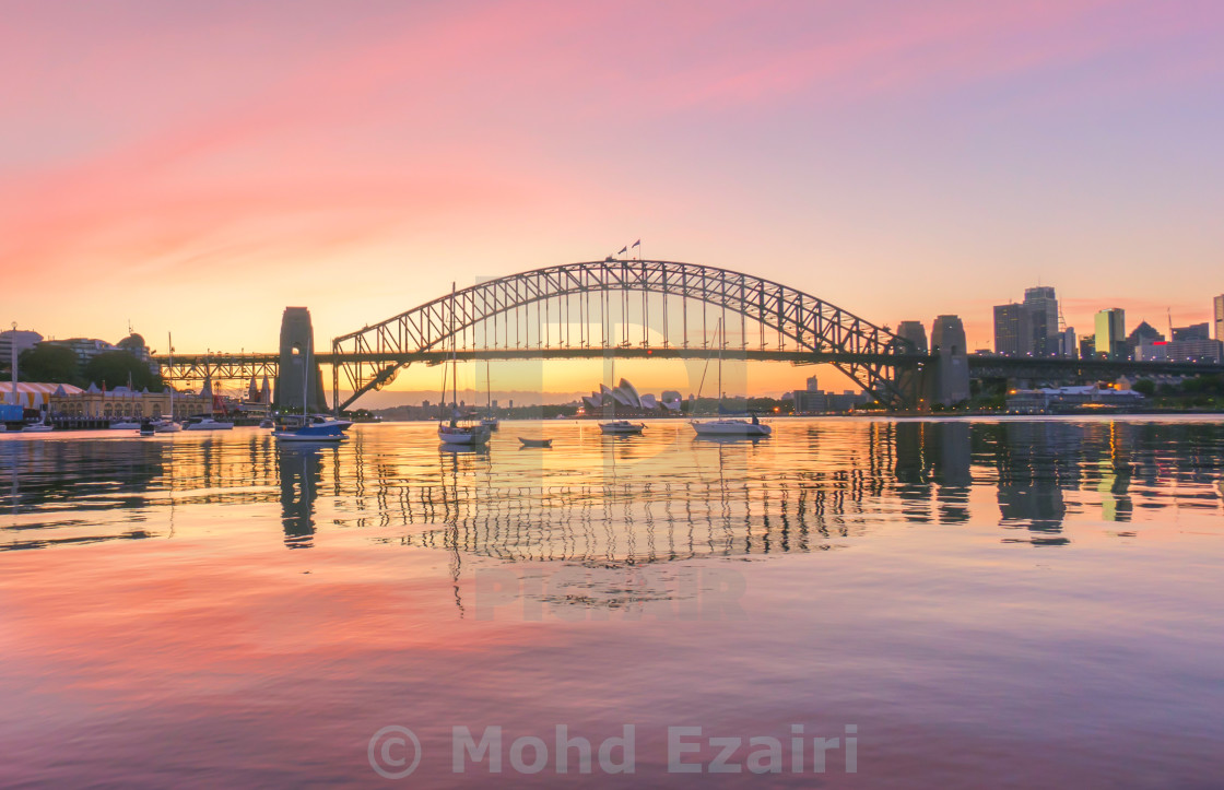 """Sunrise at Sydney Harbour Bridge"" stock image"