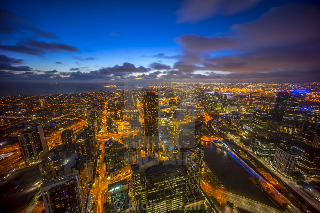 """Aerial view of dramatic sunset at Melbourne city skyline"" stock image"