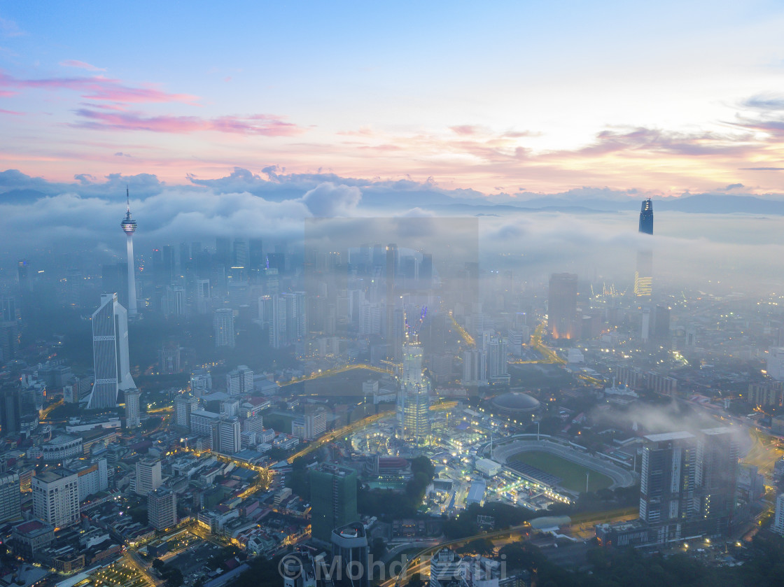 """Aerial view of sunrise at Kuala Lumpur city skyline"" stock image"