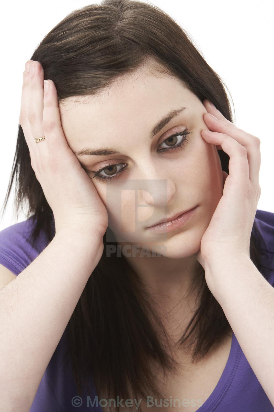 """Studio Portrait Of Depressed Woman"" stock image"