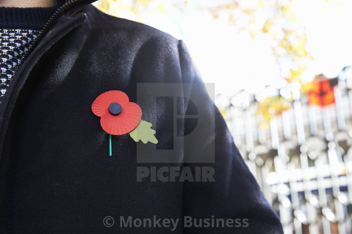 """Birmingham, UK - 6 November 2016: Close Up Of Man Wearing Remembrance Day Poppy"" stock image"