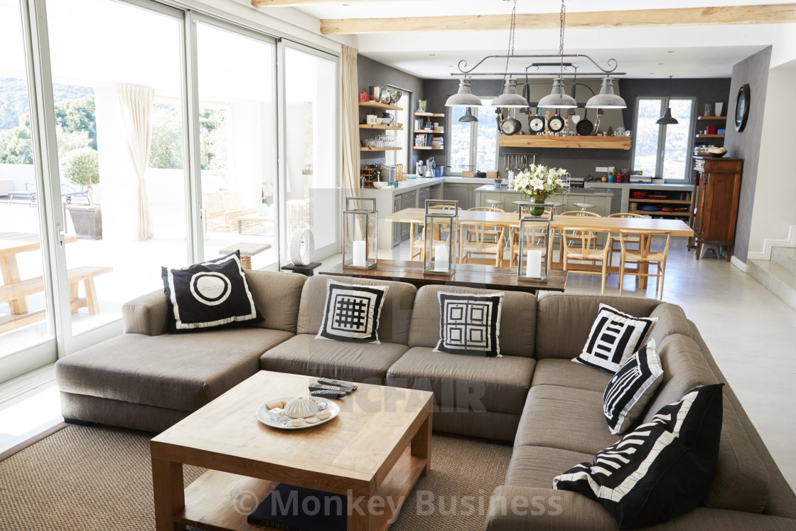 Home Interior With Open Plan Kitchen Lounge And Dining Area License Download Or Print For 12 00 Photos Picfair